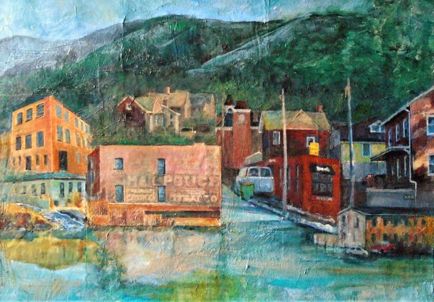 East Main Views of Beacon, NY, collage, acrylic,oil